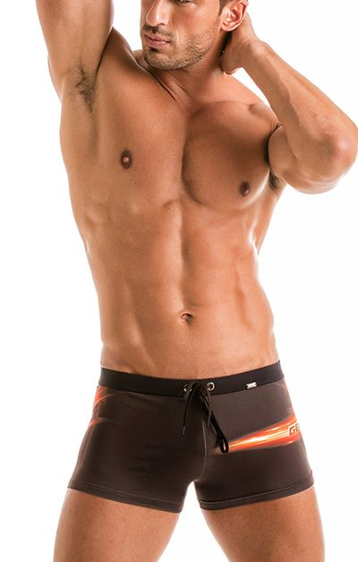 Geronimo Mens Black Swimwear Boxer Trunks 1911b1