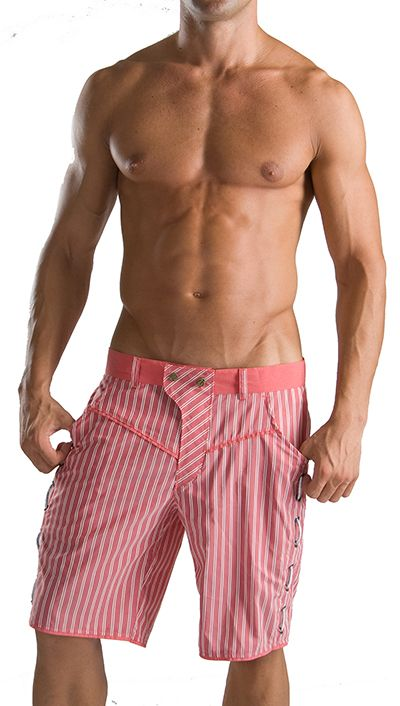 Geronimo Mens Swimming Shorts Red Striped Swim Shorts 1013p9
