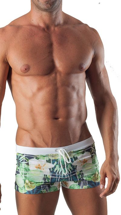 Geronimo Mens Swimwear Square Cut Boxer Trunks Floral Green 15041