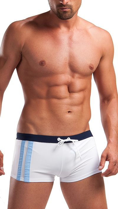 Geronimo Mens White Swimwear Boxer Trunks 1222b1