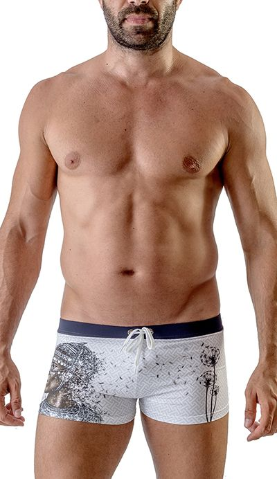 Men's Swimwear Square Cut Boxer Trunks White 1717b1