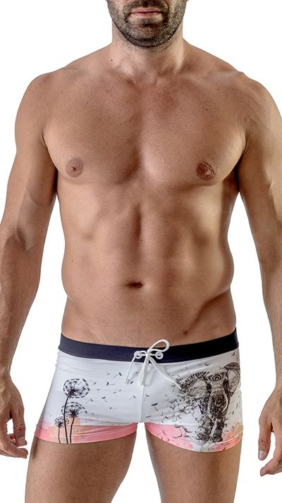 Men's Swimwear Square Cut Boxer Trunks White Elephant 1704b1